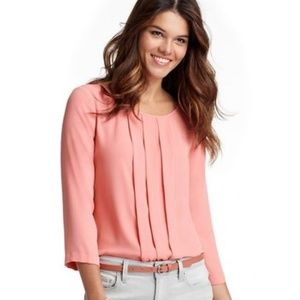 LOFT Box Pleated Pink Blouse M